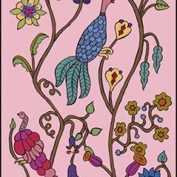 Casart Coverings Kristin Nicholas Garden Birds Pink Dawn Mural_self-adhesive wallpaper