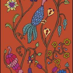 Casart Coverings Kristin Nicholas Garden Birds Pumpkin Sunset Mural_self-adhesive wallpaper sm