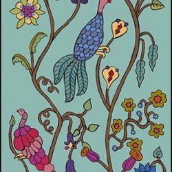 Casart Coverings Kristin Nicholas Garden Birds Teal Time Mural_self-adhesive wallpaper