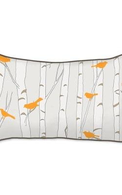 Casart Decor_Orange Birds Birch Animalia Accents_br-B_12x20-w_reverse_pillow slipcovers