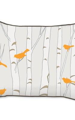 Casart Decor_Orange Birds Birch Animalia Accents_br-B_14x18-w_reverse_pillow slipcovers