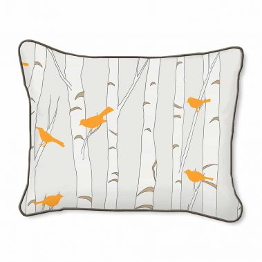 Casart Decor_Orange Birds Birch Animalia Accents_br-B_14x18-w_reverse_pillow slipcovers