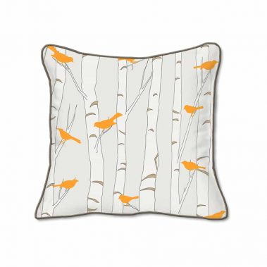 Casart Decor_Orange Birds Birch Animalia Accents_br2-B_SQ-w_reverse_pillow slipcovers