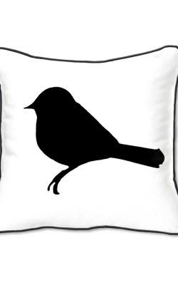 Casart Decor_Black Birds Birch Animalia Accents 1-bw-B_SQ-w_pillow slipcover