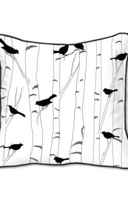 Casart Decor_Black Birds Birch Animalia Accents 1-bw-B_SQ-w_reverse_pillow slipcover