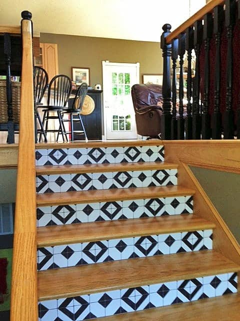 Casart coverings_Bucahan-after_Faux Tile stair risers