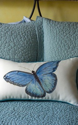 Casart coverings Blue Butterfly Pillow