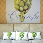Casart coverings_3 Artichaut pillows-Carciofa Mural