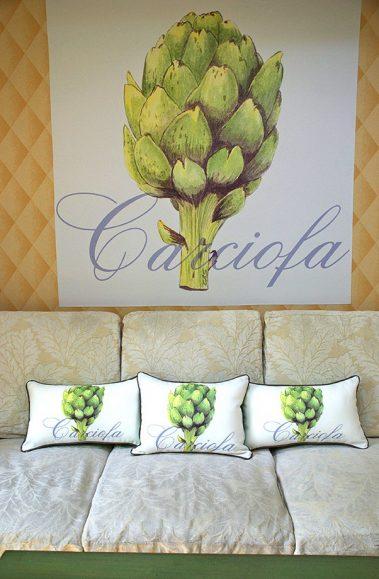 Casart coverings_3 Artichaut pillows-Carciofa Mural