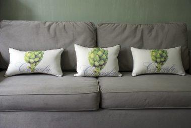 Casart coverings_Artichaut_Pillow_gray sofa