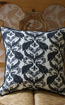 Casart coverings_B-W Damask_Pillow_french bench