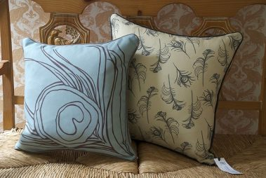 Casart coverings_Reversible Quill Pillow_french bench1