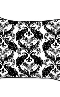 Casart Decor_Peacock Damask-bw1_14x18-w