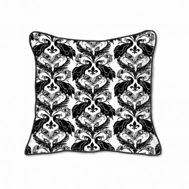 Casart Decor_French Peacock Damask Animalia Accents-bw1_SQ-w_pillow slipcover