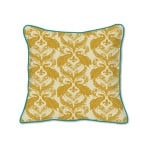 Casart Decor_French Peacock Damask Animalia Accents 2-A_SQ-w Down Tumeric reverse_pillow slipcover