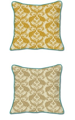 Casart Decor_French Peacock Damask Animalia Accents 2-A_SQ-w Down Tumeric / Ginger pair_pillow slipcover