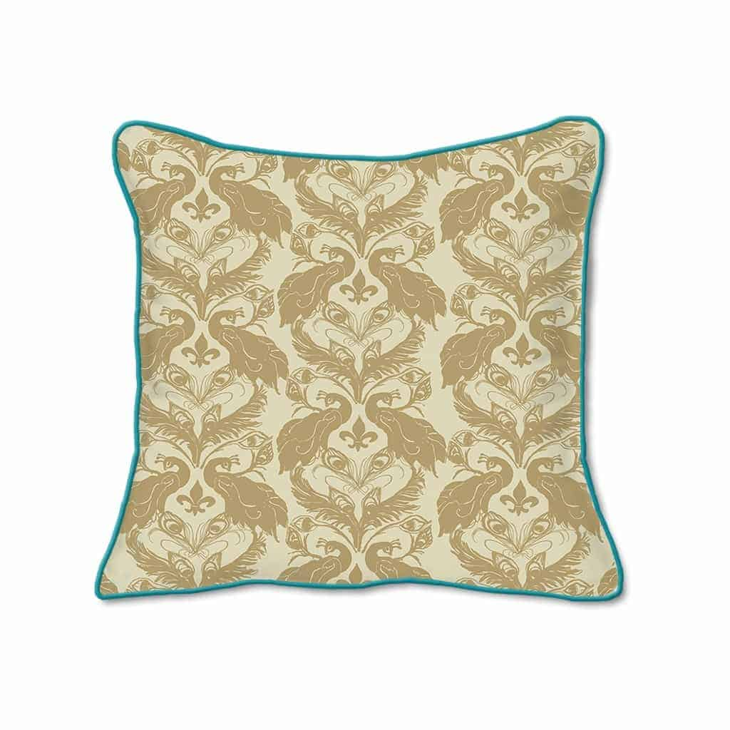 Casart Decor_French Peacock Damask Animalia Accents 2-A_SQ-w Down Ginger_pillow slipcover
