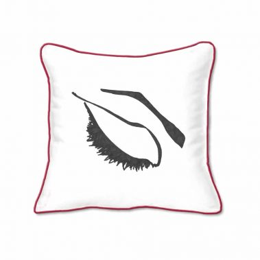 Casart Decor_Expressive Eyes1-lftC-B_SQ-w-red_pillow slipcover