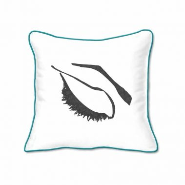 Casart Decor_Expressive Eyes 1-lftC-B_SQ-w-turquoise_pillow slipcover