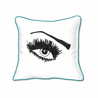 Casart Decor_Expressive Eyes 1-lftO-A_SQ-w-turquoise_pillow slipcover