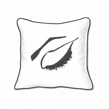 Casart Decor_Expressive Eyes 2-rtC-B_SQ-w black_pillow slipcover