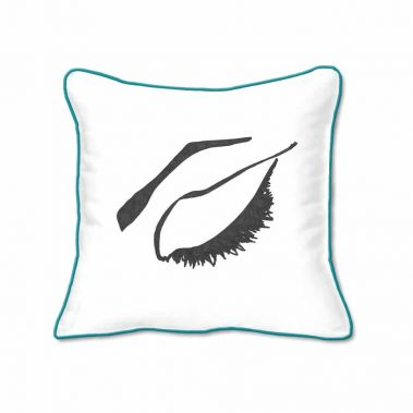 Casart Decor_Expressive Eyes 2-rtC-B_SQ-w-turquoise_pillow slipcover