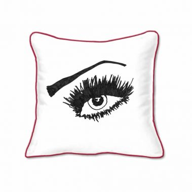Casart Decor_Expressive Eyes red pillow slipcover