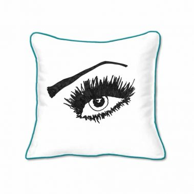 Casart Decor_Expressive Eyes 2-RtO-A_SQ-w-turquoise_pillow slipcover