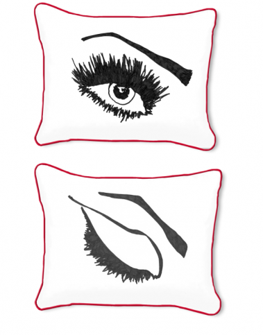 Casart Decor_Expressive Eyes L Reversible-14x18-red w_pillow slipcover
