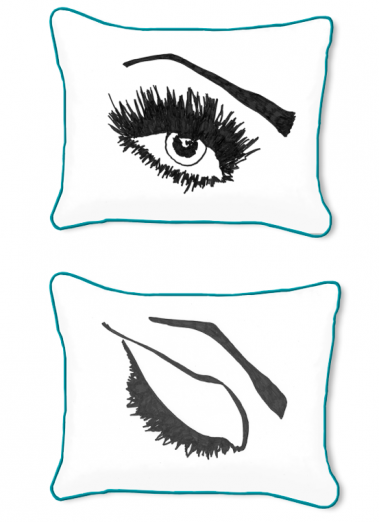 Casart Decor_Expressive Eyes L Reversible-14x18-turquoise w_pillow slipcover