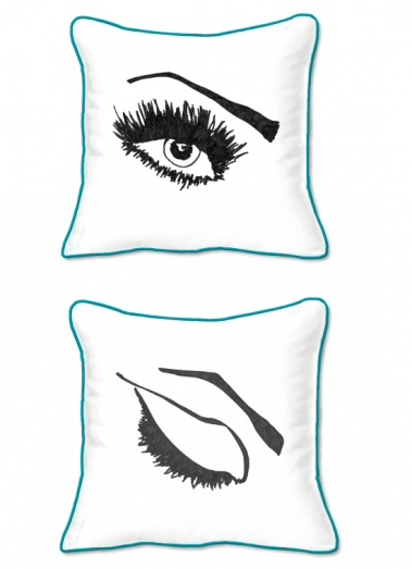 Casart Decor_Expressive Eyes L-SQ-turquoise w_pillow slicpovers