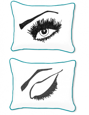 Casart Decor_Expressive Eyes R Reversible-14x18-turquoise w_pillow slipcover