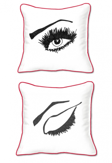 Casart Decor_Expressive Eyes R-SQ-r-w_pillow slipcover