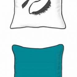 Casart Decor_EyesRc-SQ solid turquoise back -w black