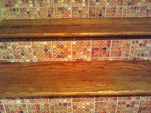 Casar Coverings_Faux Glass Mosaic Tile Stair RIsers Detail