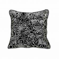 Casart Decor_Flower Power Black and White_SQ-w_pillow slipcover