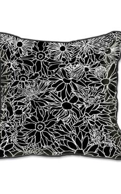 Casart Decor_Flower Power Black and White_SQ-w_pillow slipcover