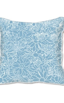 Casart Decor_Flower Power3 Blue and White_SQ-w_pillow slipcover