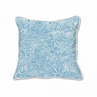 Casart Decor_Flower Power3 Blue and White_SQ-w_pillow slipcover