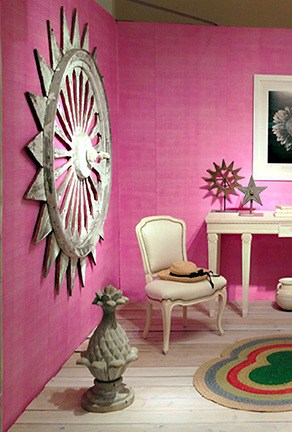 Casart Coverings_Detail - Drysdale Pink Faux Linen removable wallpaper - Antiques in Alexandria
