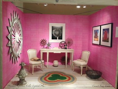Casart Coverings_Room - Drysdale Pink Faux Linen removable wallpaper - Antiques in Alexandria
