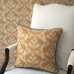 Casart decor Tumeric Peacock Damask reversible, all-weather pillow cover