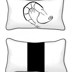 Casart Decor_Shrimp Creole Coastal_12x20-bw_pillow Slipcover