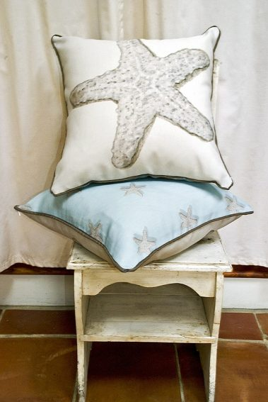 Casart coverings-Starfish reversible pillows2 _Casart Decor_Coastal Collection