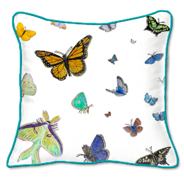 Casart Decor_Option Butterflies with turquoise piping_pillow slipcovers