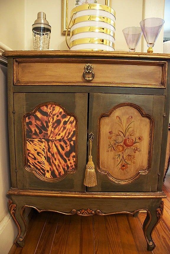Casart coverings_Bar Cabinet Comparison with Custom Tortoiseshell panel