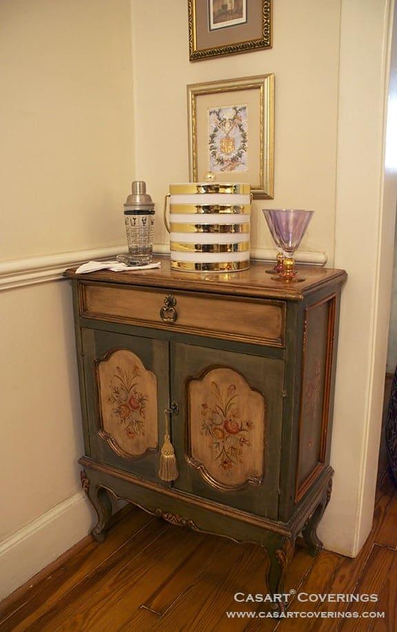Casart coverings_Bar Cabinet Before Custom Tortoiseshell Panels