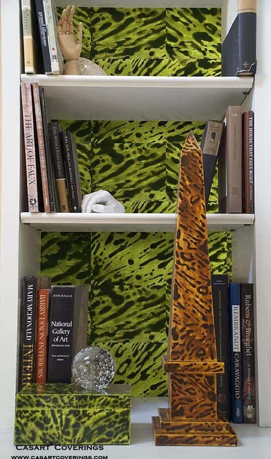 Casart coverings_KRC_Green Custom Tortoiseshell Bookcase Backings