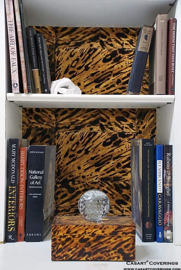 Casart coverings_KRC_Natural Custom Tortoiseshell Bookcase Backings