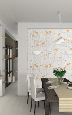 Casart coverings Birds -Birch wallcovering in Orange and Beige